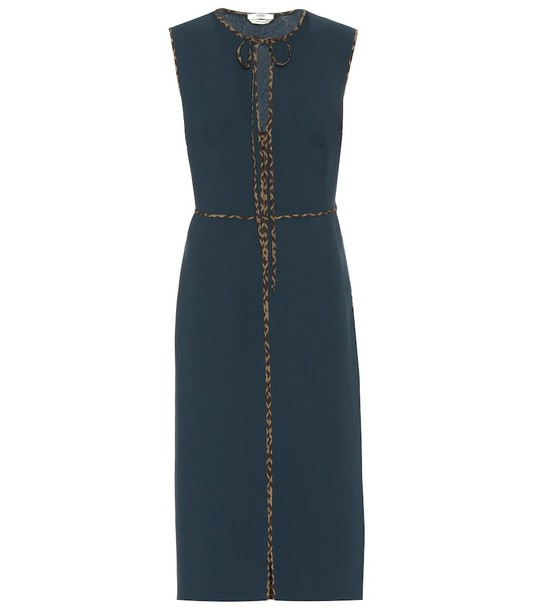 Fendi Virgin wool crêpe midi dress in blue