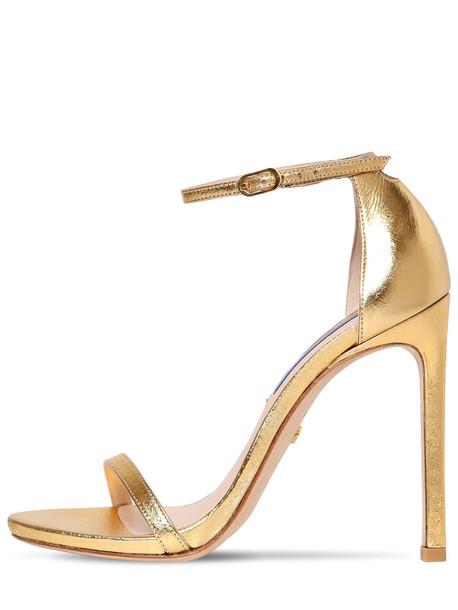 STUART WEITZMAN 120mm Nudist Metallic Leather Sandals in gold