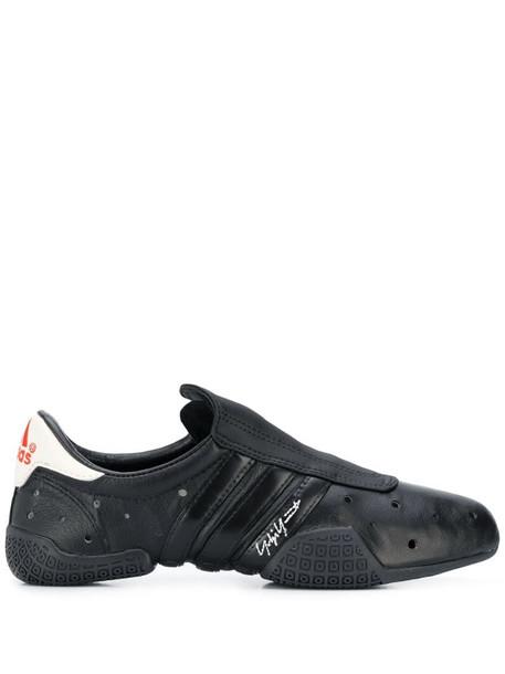 Y-3 perforated detail sneakers in black