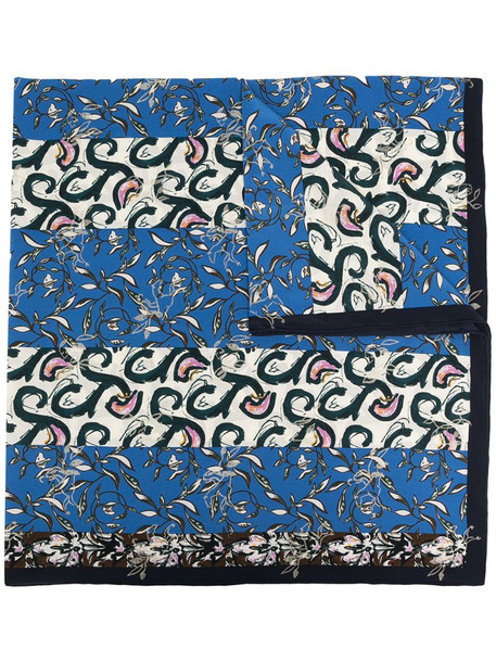 Christian Dior pre-owned leaves print scarf in blue