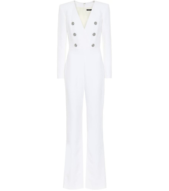 Balmain Crêpe jumpsuit in white