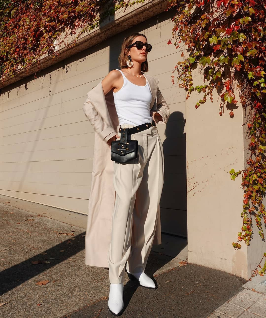 pants high waisted pants topshop white boots belt bag trench coat tank top white top