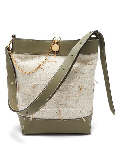 Jw Anderson - Keyts Leather And Canvas Tote Bag - Womens - Beige Multi