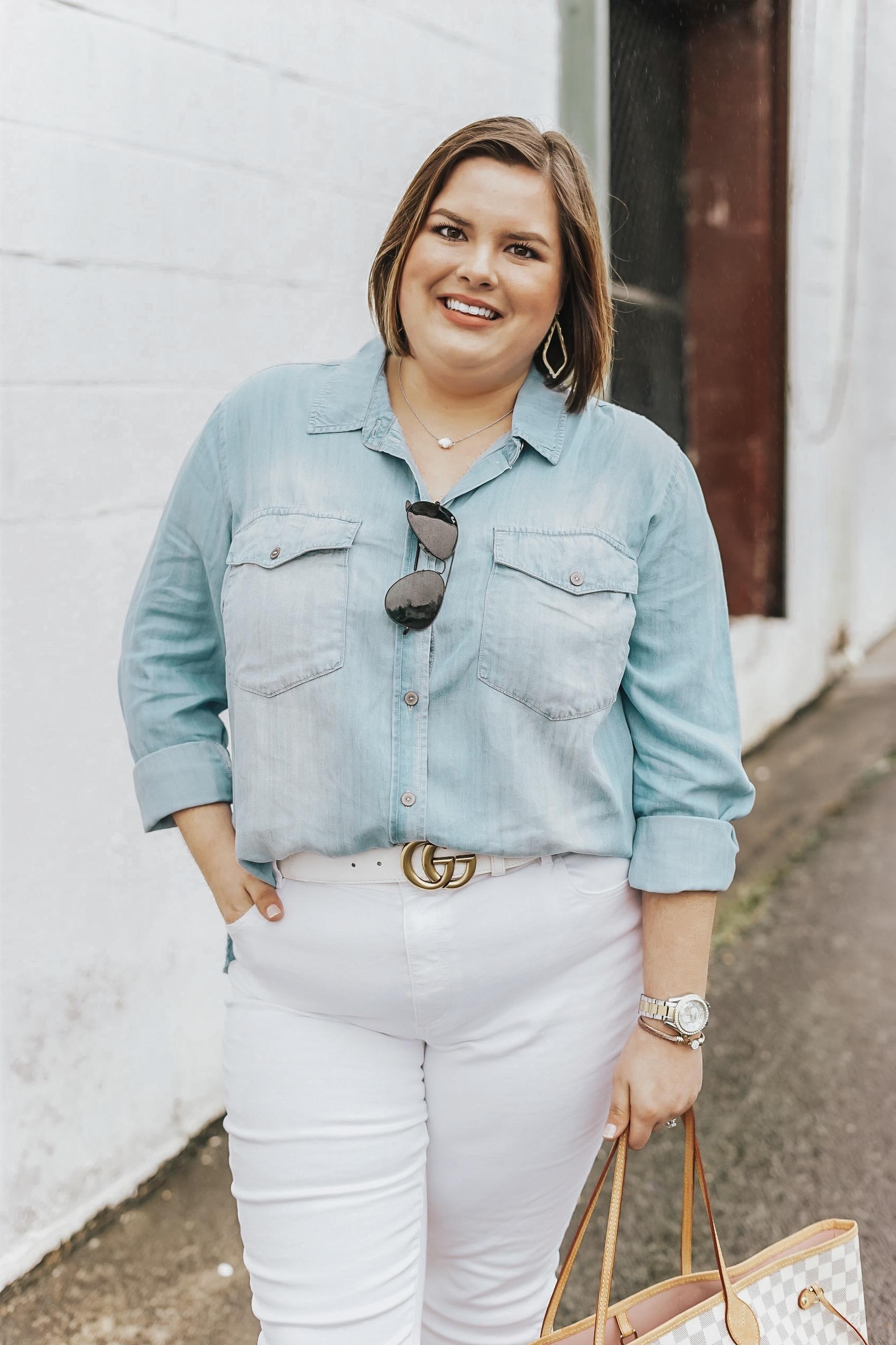 stylishsassy&classy blogger top jeans shoes sunglasses belt jewels gucci gucci belts spring outfits curvy gucci belt louis vuitton bag louis vuitton denim shirt