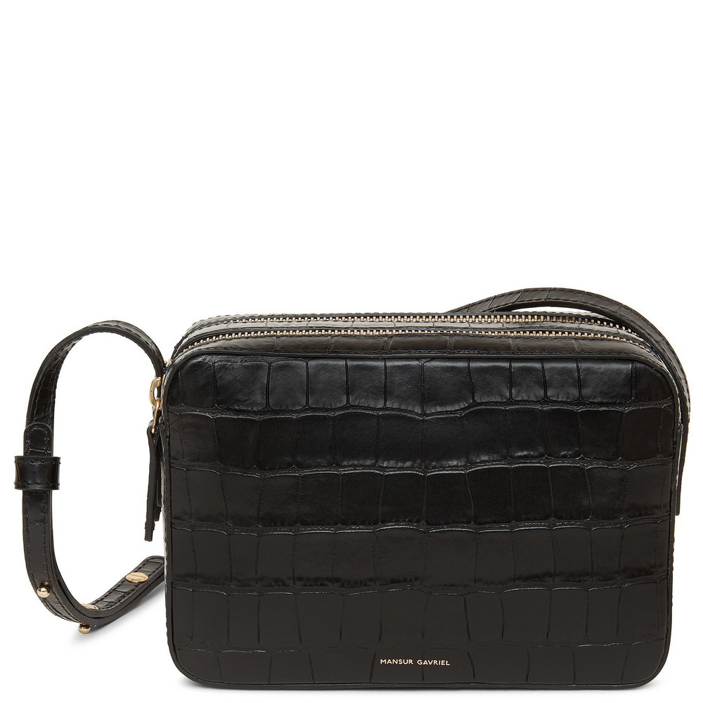 Mansur Gavriel Croc Embossed Leather Double Zip Crossbody - Black