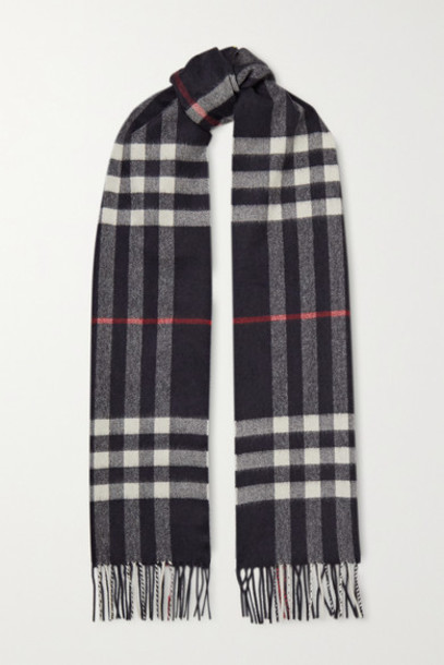 Burberry - Fringed Checked Cashmere Scarf - Navy