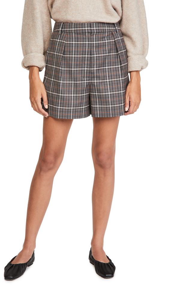 Tibi Gabe Pleated Shorts in grey / multi