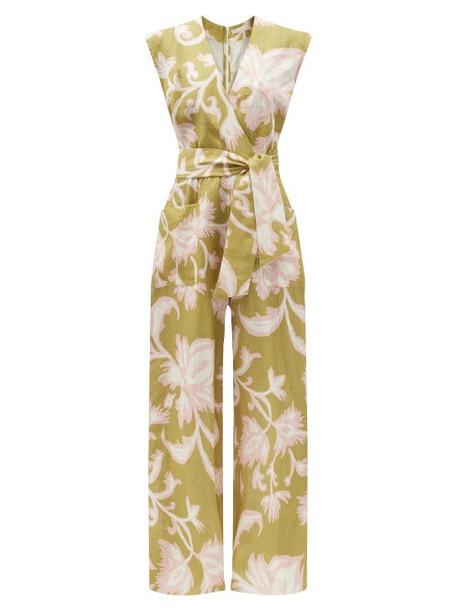 Cala De La Cruz - Madeline Floral-print Linen Wide-leg Jumpsuit - Womens - Green Multi