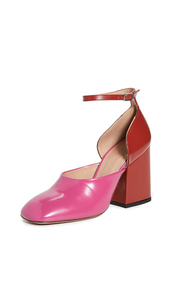 Marni Colorblock Mary Jane Pumps in fuchsia / red