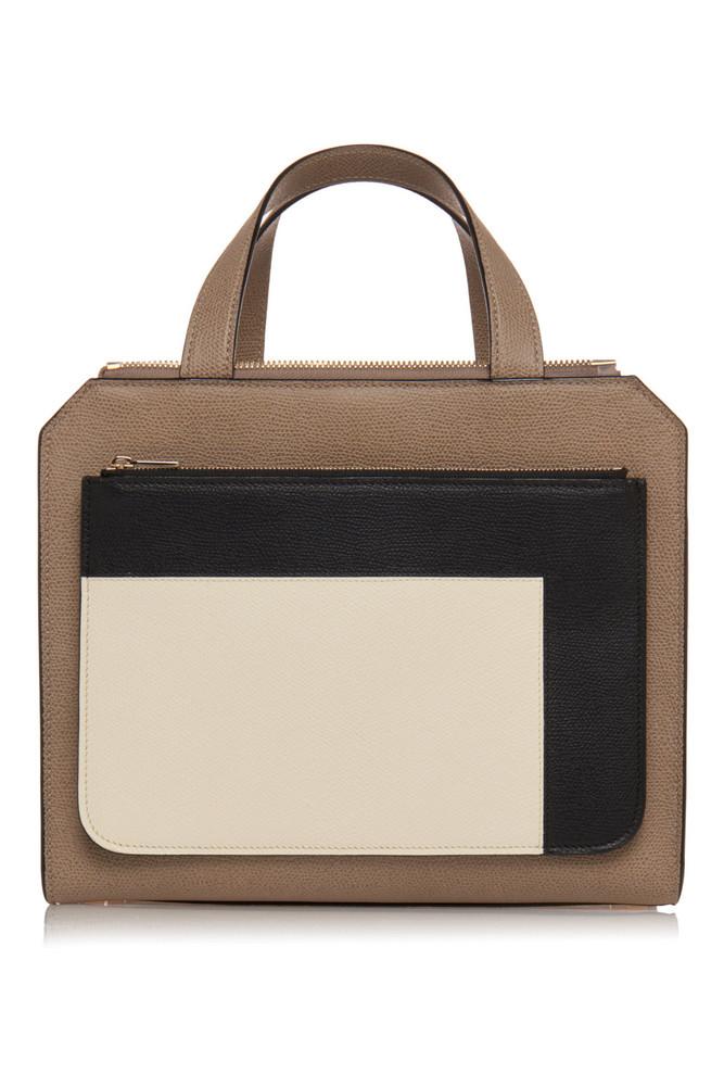 Valextra Passepartout Medium Grain Leather Bag in black