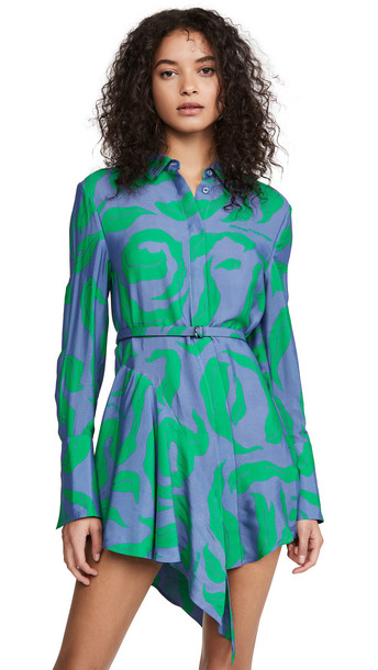 Off-White Leaves Illusion Ruffle Dress in blue / green