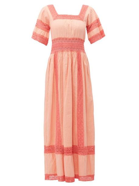 Luisa Beccaria - Square Neck Lace Trim Cotton Dress - Womens - Pink
