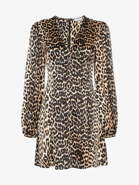 Ganni Blakely leopard-print silk mini dress