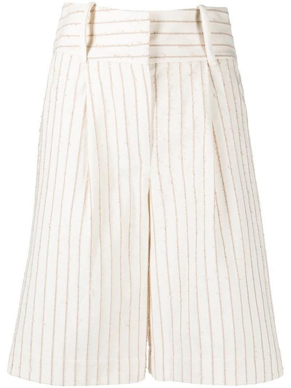 Federica Tosi pinstripe tailored shorts in neutrals