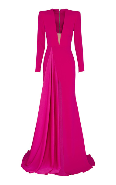 Alex Perry Lindy Draped Deep-V Satin Crepe Gown Size: 8 in pink