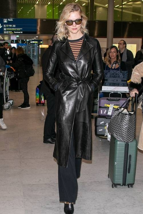 coat leather leather coat karlie kloss model off-duty streetstyle