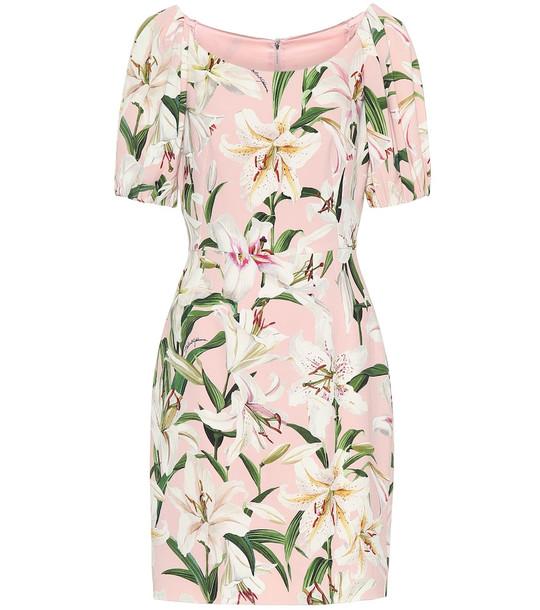 Dolce & Gabbana Floral stretch-crêpe dress in pink