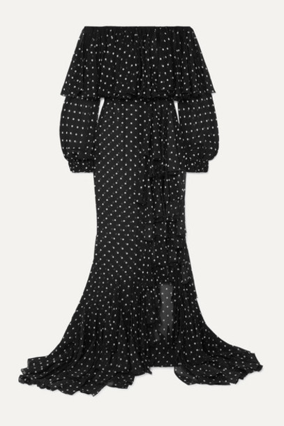 Balmain - Off-the-shoulder Ruffled Polka-dot Silk-chiffon Maxi Dress - Black