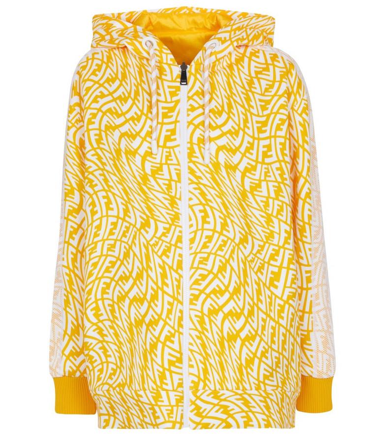 FENDI Reversible logo nylon jacket in yellow