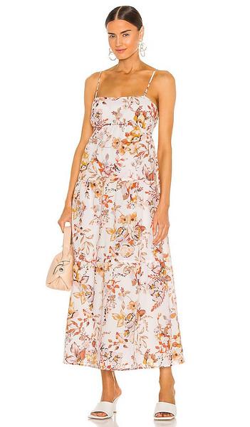 Bardot Floral Flow Dress in Cream,Orange in natural