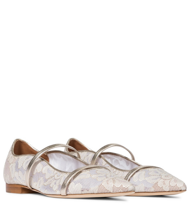 Malone Souliers Exclusive to Mytheresa – Maureen floral lace ballet flats in beige