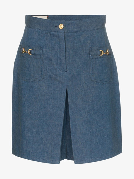 Gucci high-waisted horsebit detail denim shorts