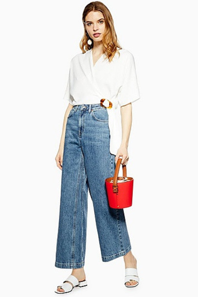 Topshop Dirty Mid Blue Crop Wide Leg Jeans - Dirty Denim