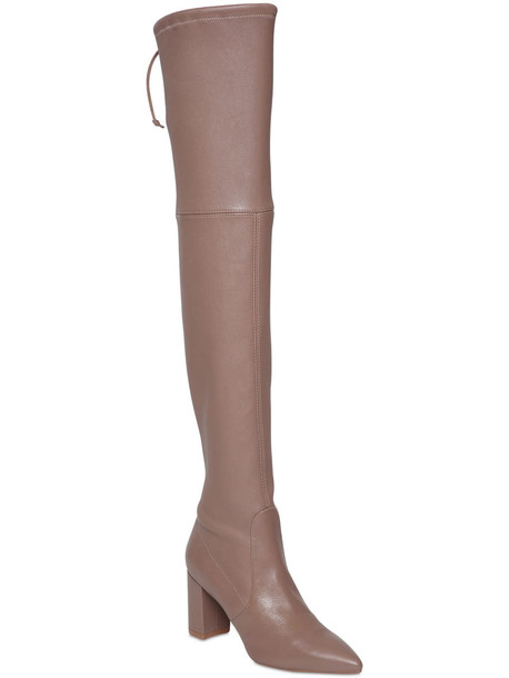 STUART WEITZMAN 75mm Lesley Stretch Leather Boots in taupe