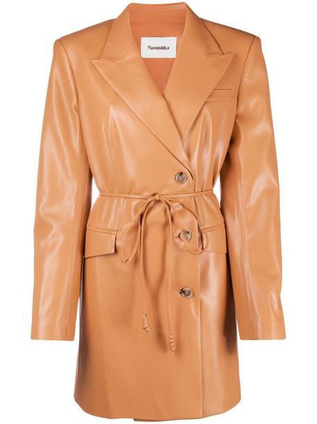 Nanushka belted faux-leather jacket in neutrals