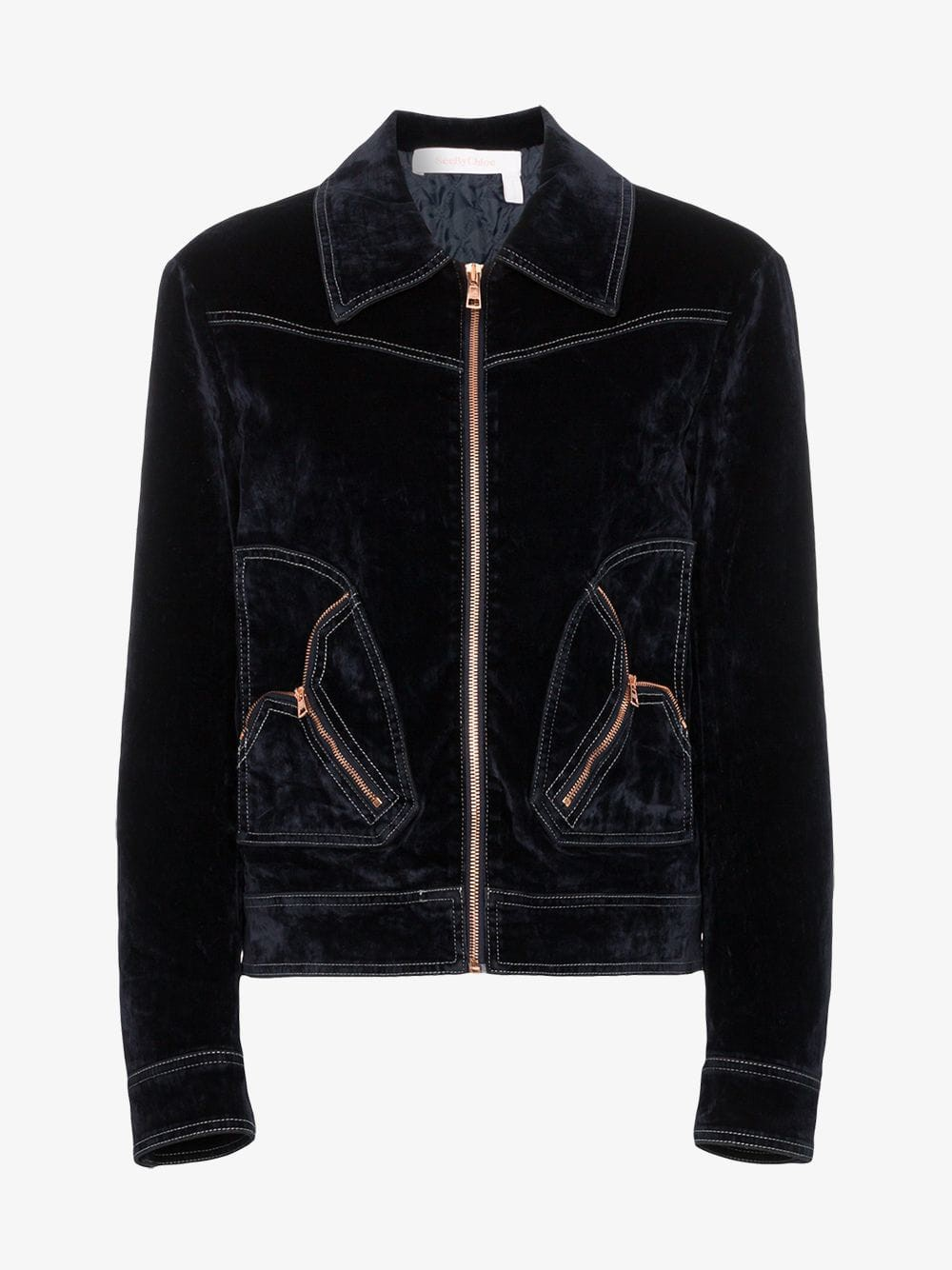 See By Chloé See By Chloé harrington zip up velvet jacket in midnight