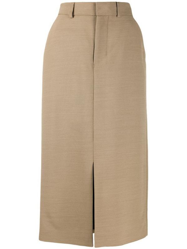AMI Paris front slit straight skirt in neutrals