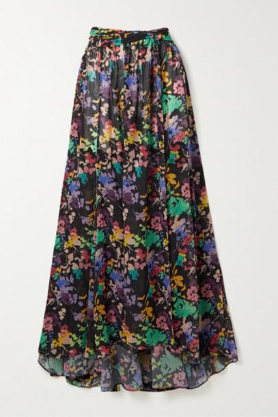 Caroline Constas - Hera Floral-print Chiffon Maxi Skirt - Black