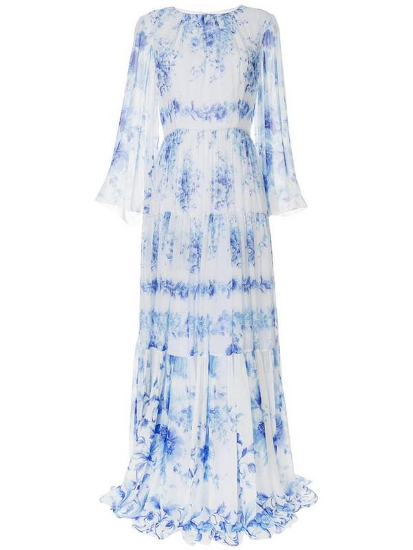 Ingie Paris floral print pleated dress in white
