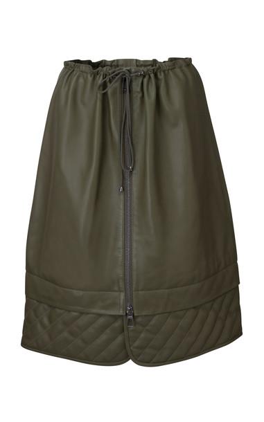DoDo Bar Or Piki Quilt-Detailed Leather Drawstring Midi Skirt in green