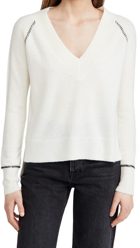 Veronica Beard Preta V Neck Cashmere Sweater in ivory