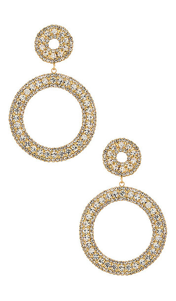 Ettika Double Hoop Earrings in Metallic Gold