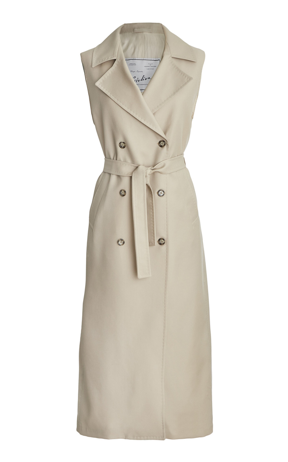 Giuliva Heritage Collection Sleeveless Trench Dress in neutral