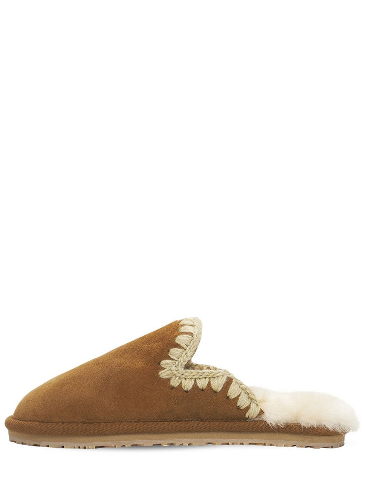 MOU 10mm Eskimo Suede Slippers in tan
