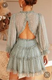 dress,light turquoise,open back dresses,ruffle dress,light teal dress