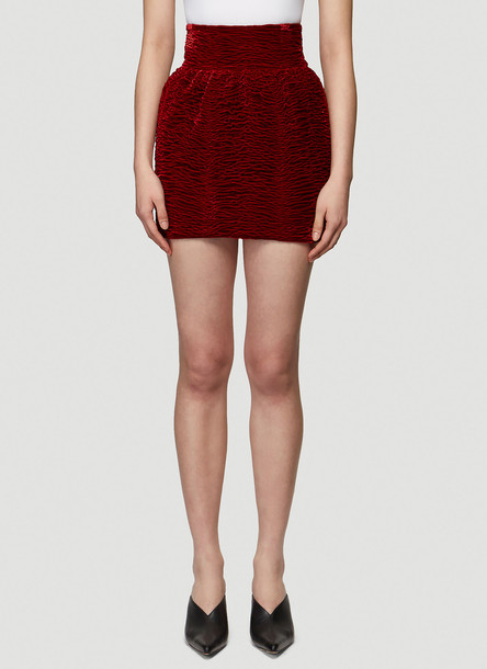 Saint Laurent Smocked Zebra Velvet Mini Skirt in Red size FR - 34