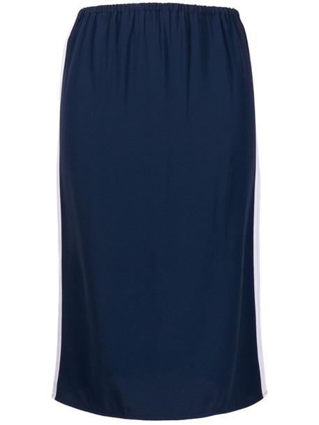 Marni high-waisted stripe-detail skirt in blue