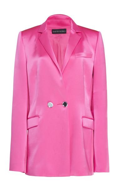 David Koma Satin Blazer in pink