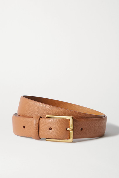 ANDERSON'S - Textured-leather Belt - Brown