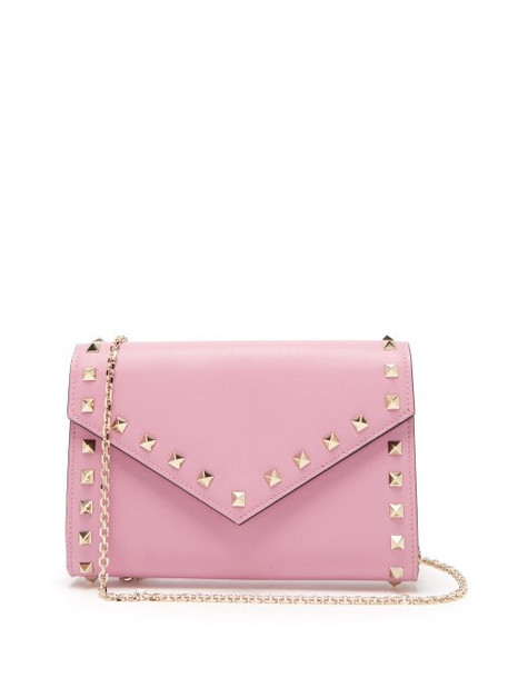Valentino - Rockstud Leather Envelope Clutch - Womens - Pink