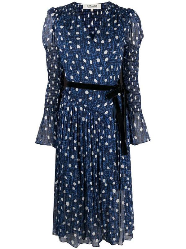 DVF Diane von Furstenberg printed belted dress in blue
