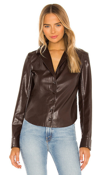 L'Academie The Lydie Blouse in Chocolate in brown