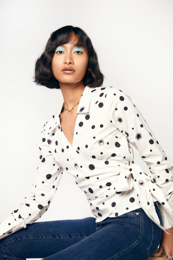 Miaou BETSEY TOP - WHITE POLKA DOT