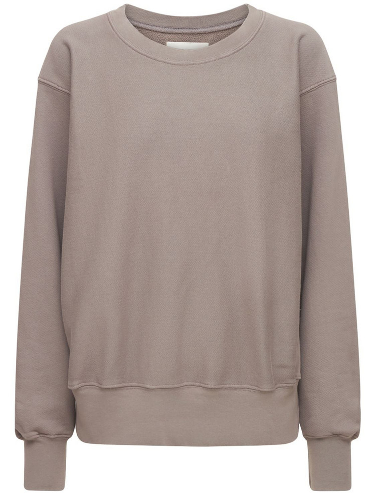 LES TIEN Crop Crew Sweatshirt in grey