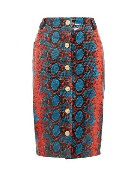 Versace - Python Effect Leather Pencil Skirt - Womens - Blue Multi