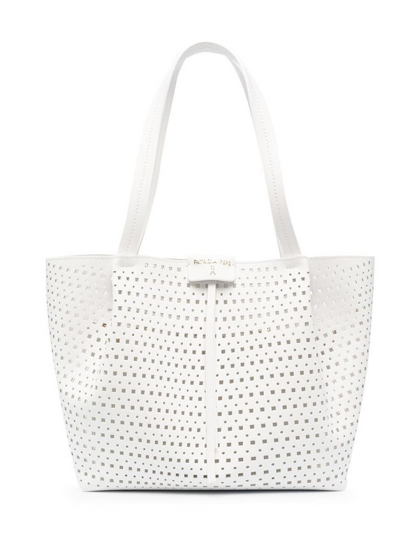 Patrizia Pepe cut-out medium tote bag in white